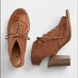 Gap NEW Open Toe Lace Up Brown Booties